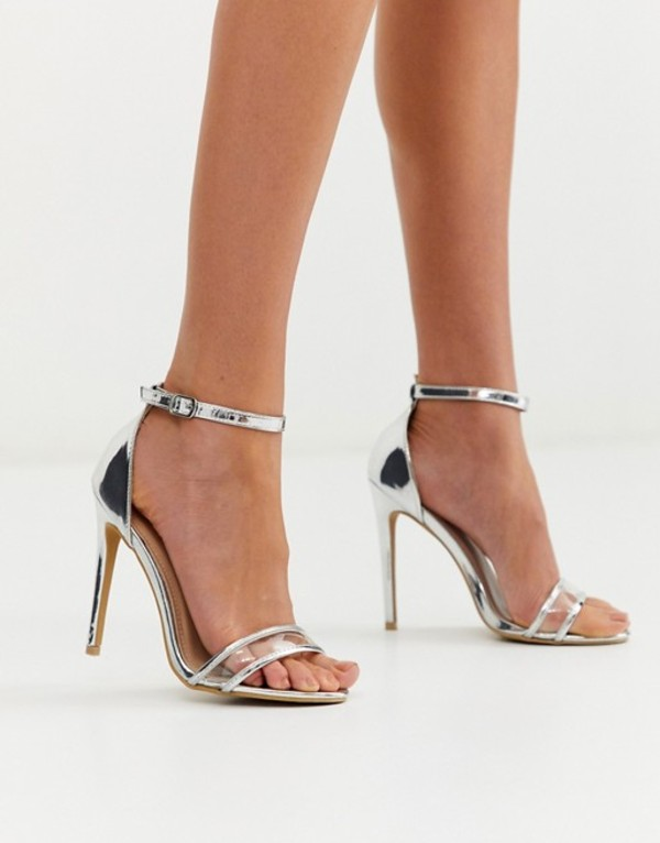 グラマラス レディース サンダル シューズ Glamorous silver clear strap barely there sandals Silver