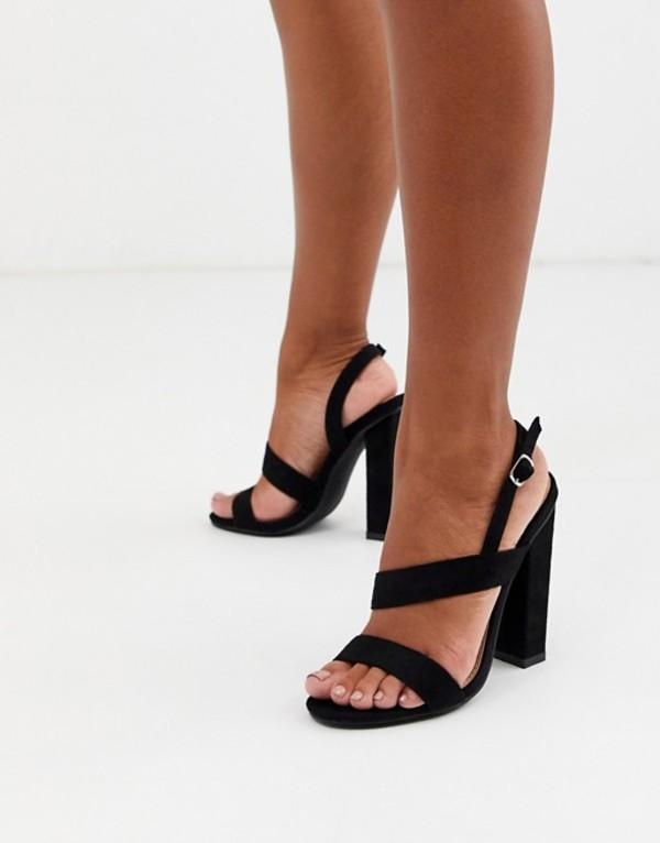 グラマラス レディース サンダル シューズ Glamorous black asymmetric block heeled sandals Black mf