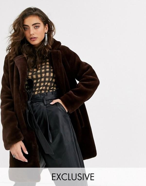 オブジェクト レディース コート アウター Object faux fur coat in brown Brown