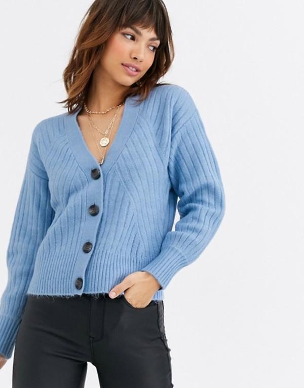 ウエアハウス レディース カーディガン アウター Warehouse travelling rib cozy cardigan in blue Pale blue marl