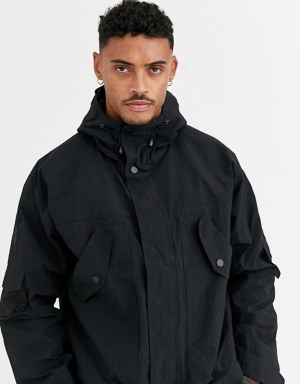 エイソス メンズ ジャケット・ブルゾン アウター ASOS DESIGN windbreaker jacket with utility detail in black Black