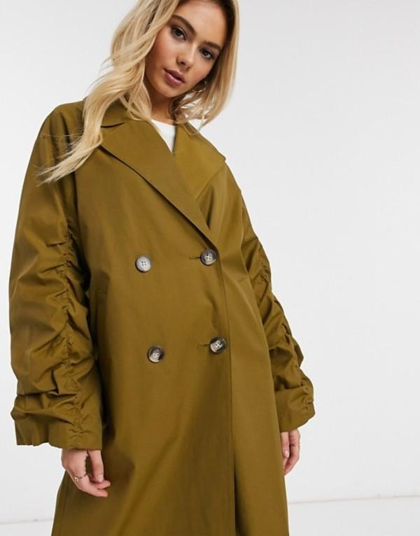 エイソス レディース コート アウター ASOS DESIGN ruched sleeve trench coat in olive Olive