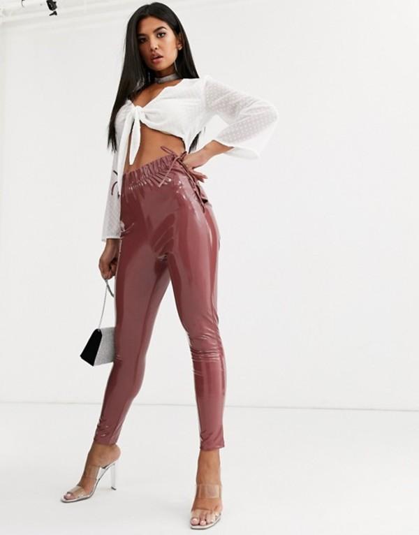 エイソス レディース カジュアルパンツ ボトムス ASOS DESIGN lace up side vinyl skinny pants Pink