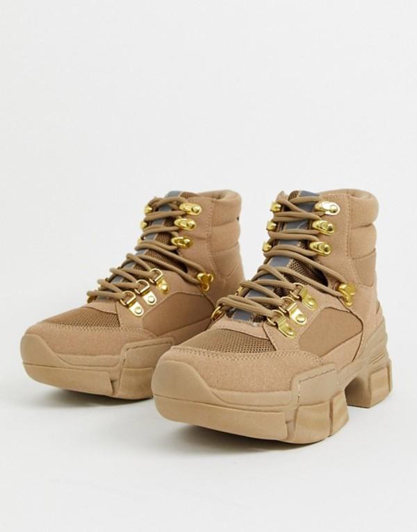 トリュフコレクション レディース ブーツ・レインブーツ シューズ Truffle Collection hiker boot in stone Stone pu