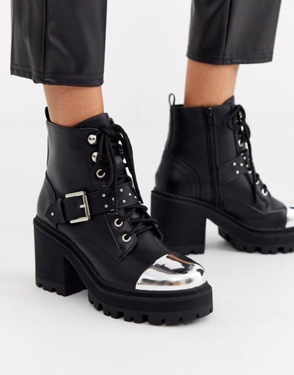 トリュフコレクション レディース ブーツ・レインブーツ シューズ Truffle Collection heeled chunky buckle boot Black pu