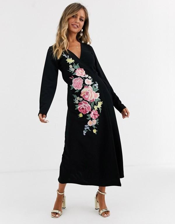 エイソス レディース ワンピース トップス ASOS DESIGN Long sleeve embroidered wrap midi dress Black