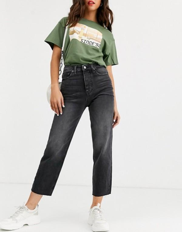 オンリー レディース デニムパンツ ボトムス Only cropped straight leg jeans with high waist in washed black Black