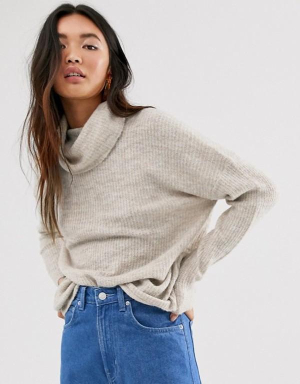 オンリー レディース ニット・セーター アウター Only brushed knit sweater with roll neck in stone Stone