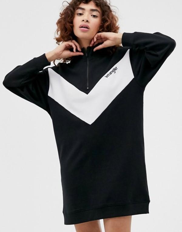 ラングラー レディース ワンピース トップス Wrangler high neck dress with zip detail Black
