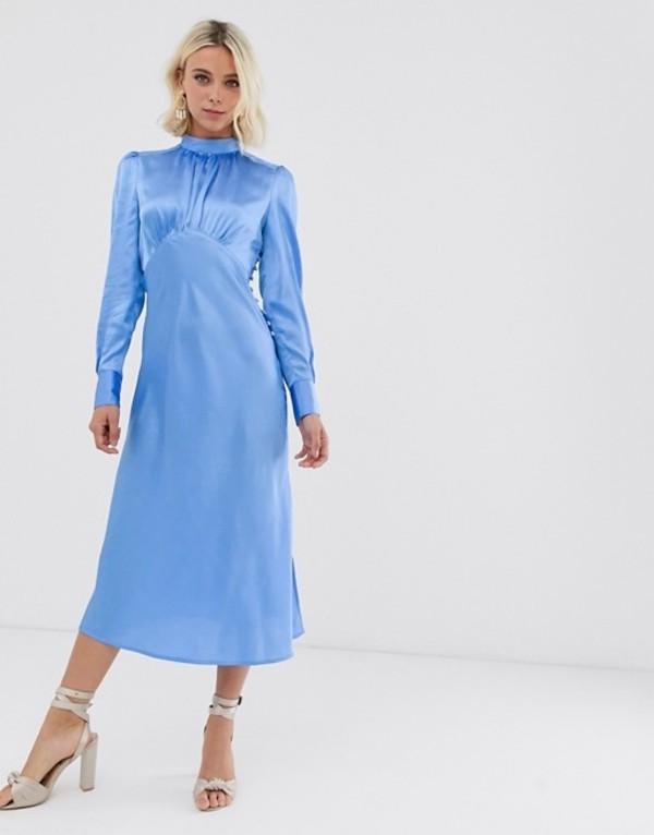 エイソス レディース ワンピース トップス ASOS DESIGN high neck midi satin tea dress Blue