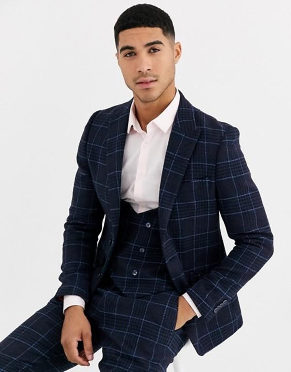 ジャンニ フェロー メンズ ジャケット・ブルゾン アウター Gianni Feraud Slim Fit Wool Blend Blue Red Check Suit Jacket Navy