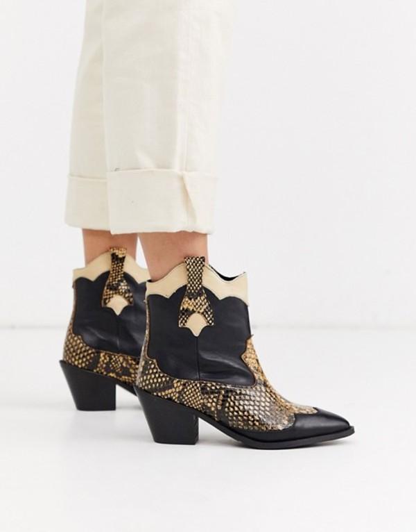 セレクティッド レディース ブーツ・レインブーツ シューズ Selected Femme snake mix cowboy boots Black
