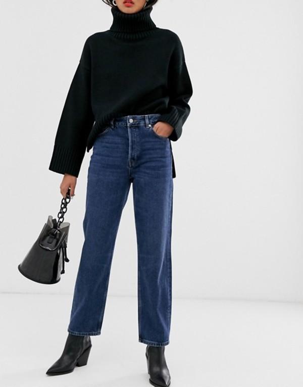 セレクティッド レディース デニムパンツ ボトムス Selected Femme high waist straight leg jeans in blue wash Blue