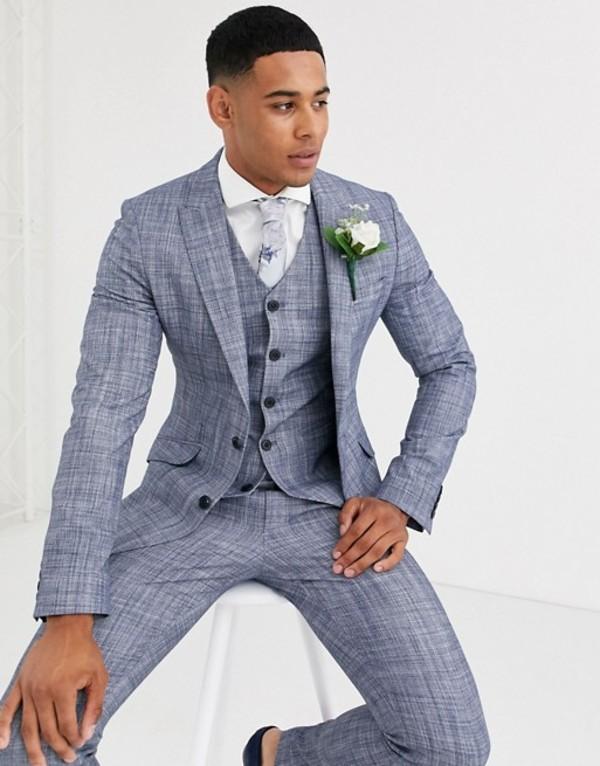 エイソス メンズ ジャケット・ブルゾン アウター ASOS DESIGN wedding super skinny suit jacket in dark blue crosshatch Navy