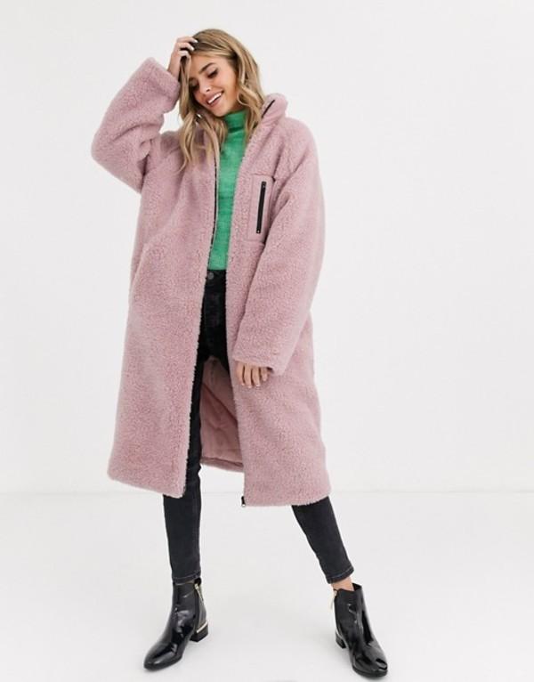 エイソス レディース コート アウター ASOS DESIGN maxi patched fleece coat in pink Pink