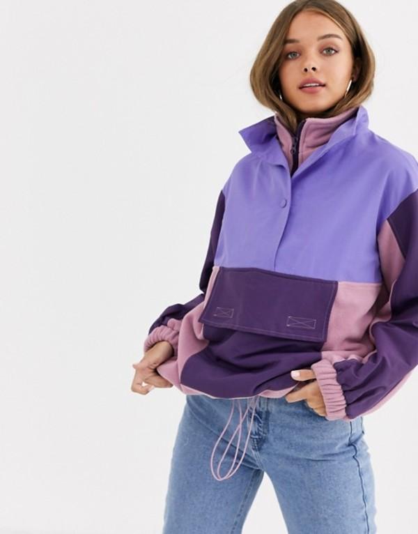 エイソス レディース ジャケット・ブルゾン アウター ASOS DESIGN blocked fleece jacket with nylon patching Multi