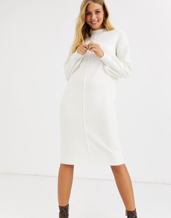 エイソス レディース ワンピース トップス ASOS DESIGN fluffy midi dress with seam detail Cream