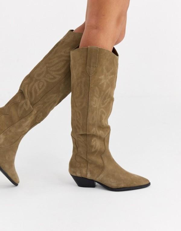 プルアンドベアー レディース ブーツ・レインブーツ シューズ Pull&Bear suede high leg western boots in taupe Taupe