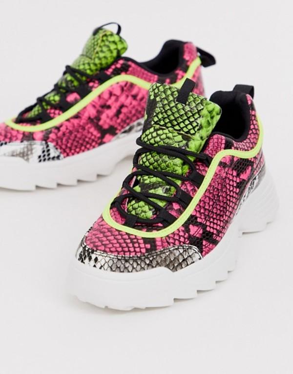 キューピッド レディース スニーカー シューズ Qupid neon snake print chunky sneaker Neon snake