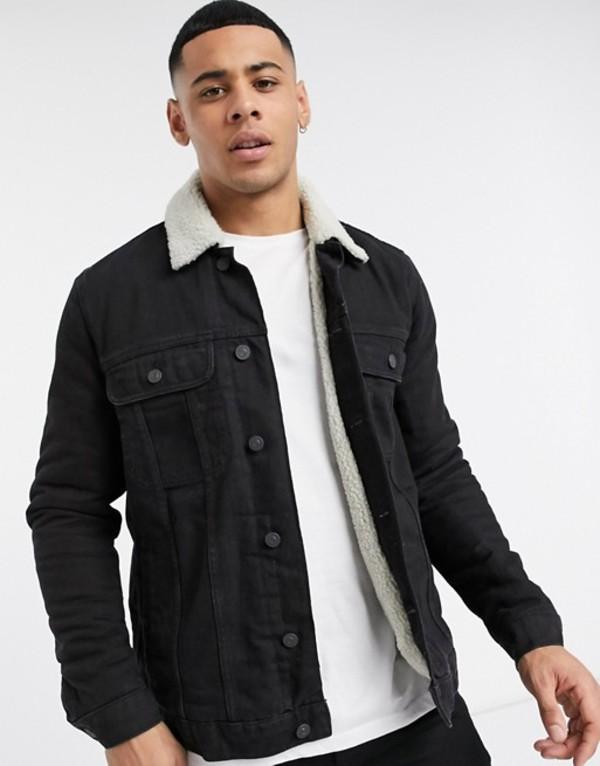 エイソス メンズ ジャケット・ブルゾン アウター ASOS DESIGN denim jacket with ecru teddy lining in black Black