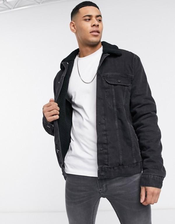 エイソス メンズ ジャケット・ブルゾン アウター ASOS DESIGN denim jacket with teddy lining in black Black