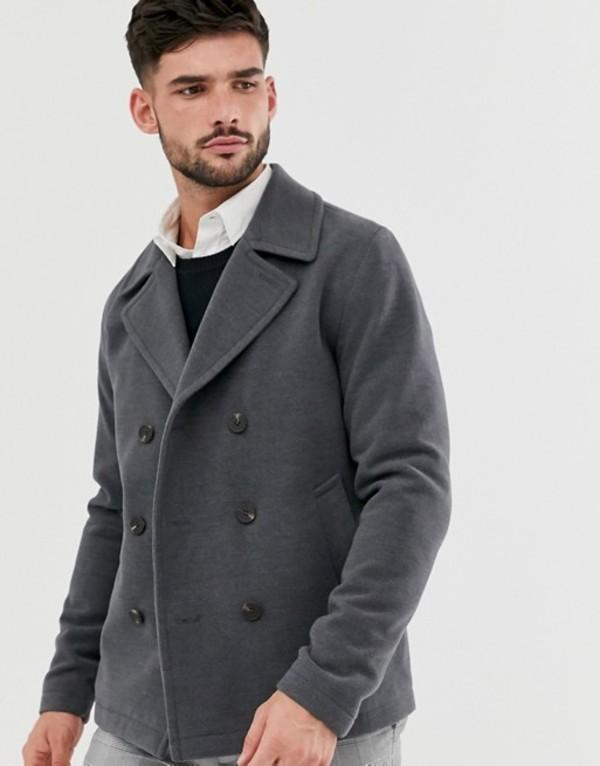 ジャック アンド ジョーンズ メンズ コート アウター Jack & Jones Originals pea coat in dark gray Dark grey melange