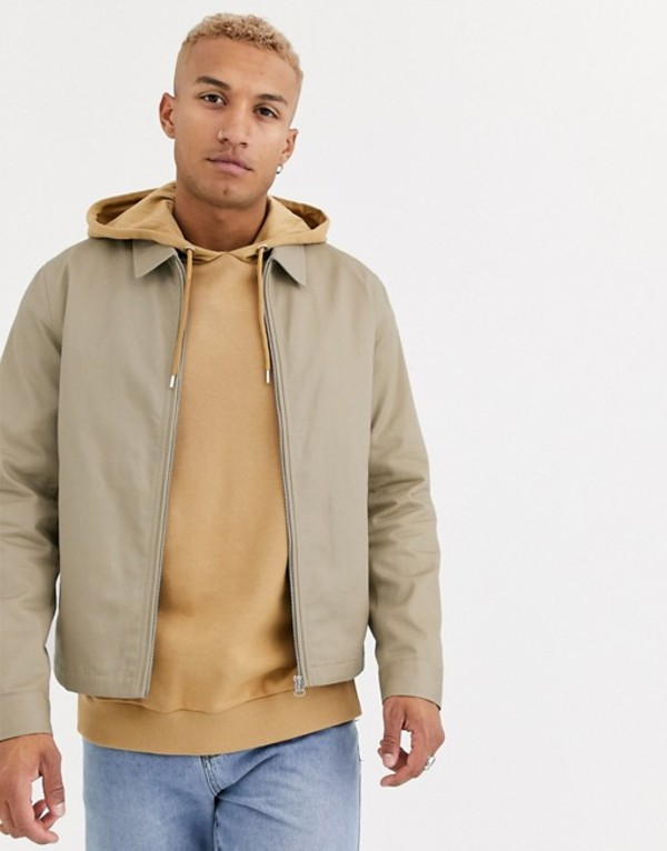 エイソス メンズ ジャケット・ブルゾン アウター ASOS DESIGN harrington jacket in stone Stone