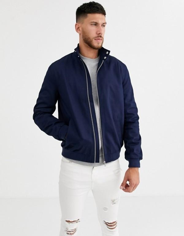 エイソス メンズ ジャケット・ブルゾン アウター ASOS DESIGN harrington jacket with funnel neck in navy Navy