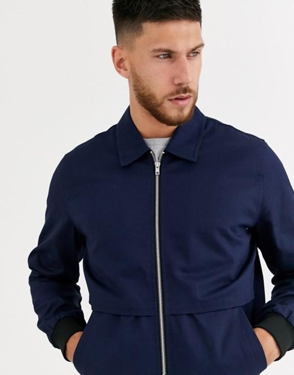 エイソス メンズ ジャケット・ブルゾン アウター ASOS DESIGN harrington jacket with storm vent in navy Navy