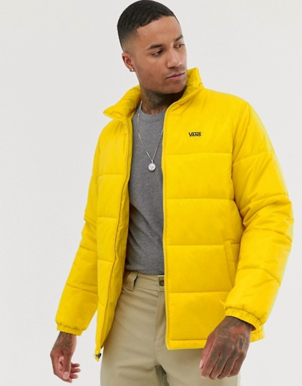 バンズ メンズ コート アウター Vans small logo puffer jacket in yellow Yellow