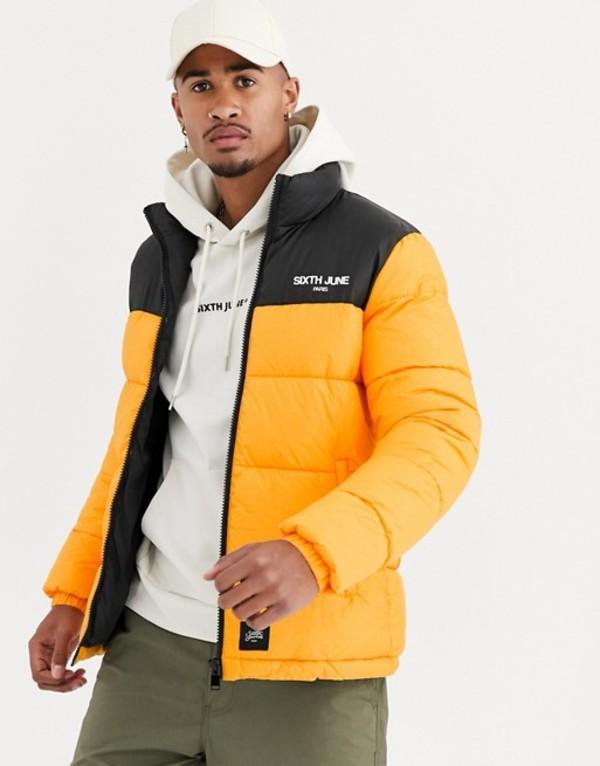 シックスジュン メンズ コート アウター Sixth June puffer jacket with yellow panel Yellow