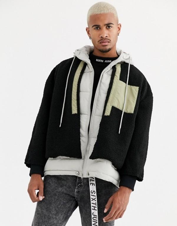 シックスジュン メンズ ジャケット・ブルゾン アウター Sixth June layered borg jacket with hood in black Black