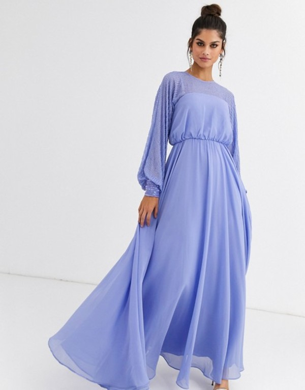 エイソス レディース ワンピース トップス ASOS DESIGN maxi dress with linear yolk embellishment Blue