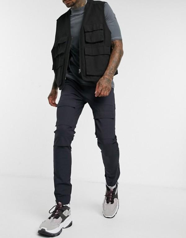 エイソス メンズ カジュアルパンツ ボトムス ASOS DESIGN slim cargo pants with knee pockets and ankle zips in navy Navy