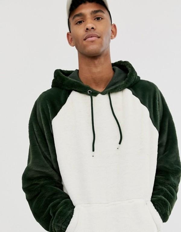 エイソス メンズ パーカー・スウェット アウター ASOS DESIGN oversized hoodie in faux fur color block Ecru