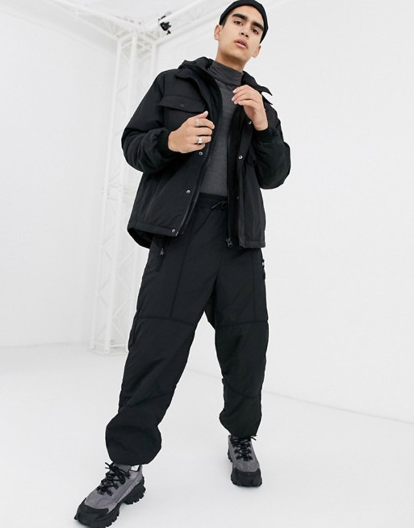 エイソス メンズ カジュアルパンツ ボトムス ASOS DESIGN two-piece tapered woven quilted sweatpants in black Black