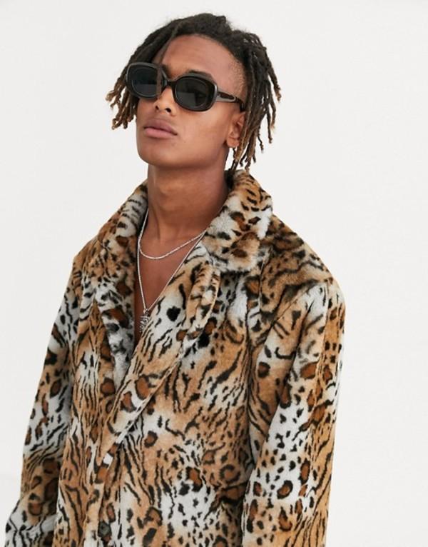 ハートアンドダガー メンズ ジャケット・ブルゾン アウター Heart & Dagger oversized jacket in faux fur Brown
