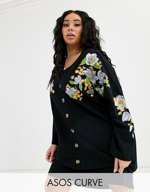エイソス レディース ワンピース トップス ASOS DESIGN Curve embroidered sweat button through mini dress Black
