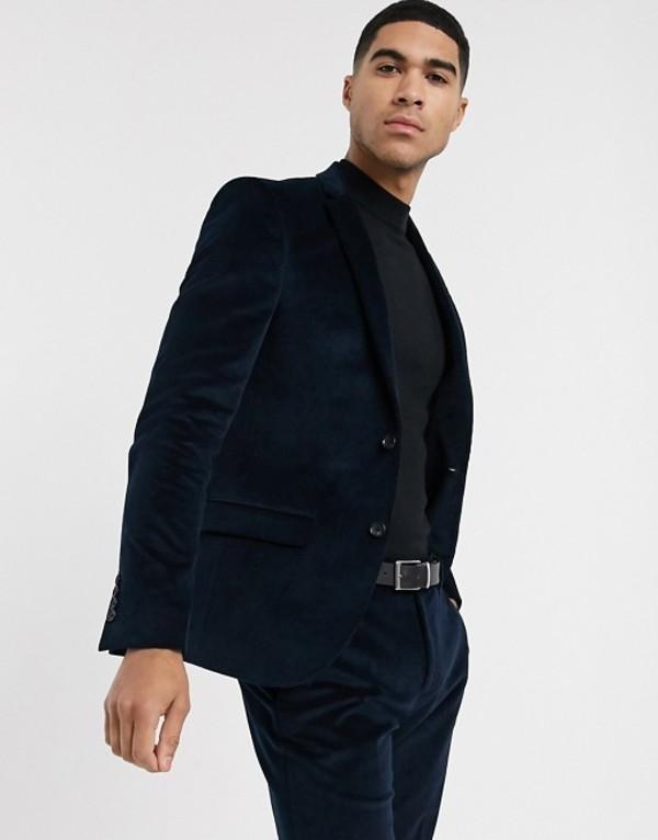 リバーアイランド メンズ ジャケット・ブルゾン アウター River Island skinny suit jacket in blue cord Teal