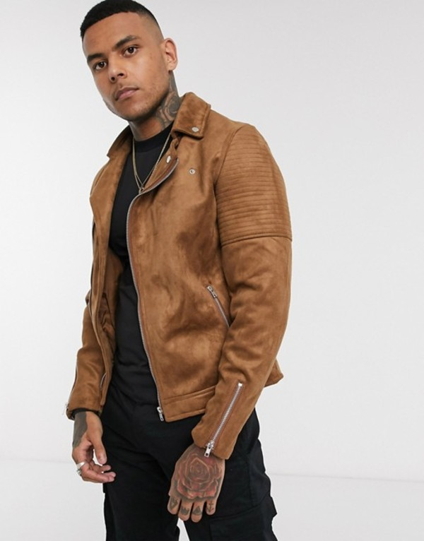 エイソス メンズ ジャケット・ブルゾン アウター ASOS DESIGN faux suede biker jacket in tan Tan