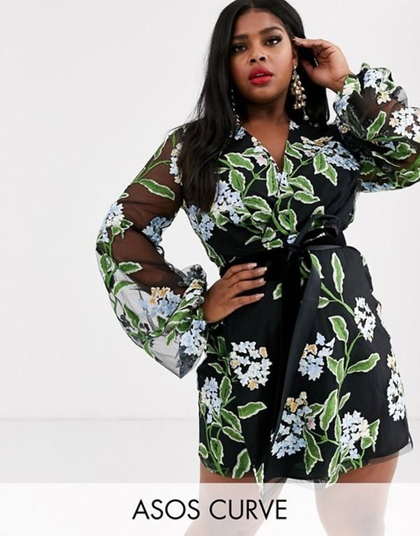 エイソス レディース ワンピース トップス ASOS DESIGN Curve embroidered wrap mini dress with blouson sleeve and tie waist Black mesh floral
