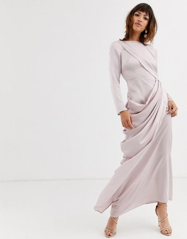 エイソス レディース ワンピース トップス ASOS DESIGN satin maxi dress with drape layer detail Ash grey