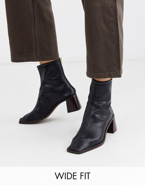 エイソス レディース ブーツ・レインブーツ シューズ ASOS DESIGN Wide Fit Riverside premium leather kitten heel sock boots in black Black leather