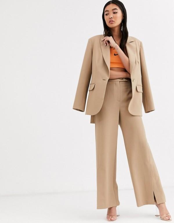 エイソス レディース カジュアルパンツ ボトムス ASOS WHITE twill tailored split front pants Brown