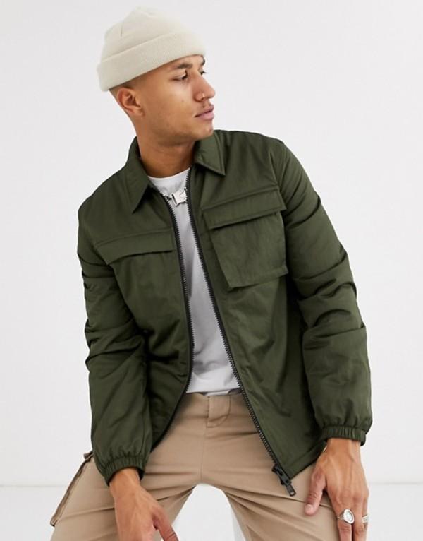 エイソス メンズ ジャケット・ブルゾン アウター ASOS DESIGN quilted jacket with utility details in khaki Khaki