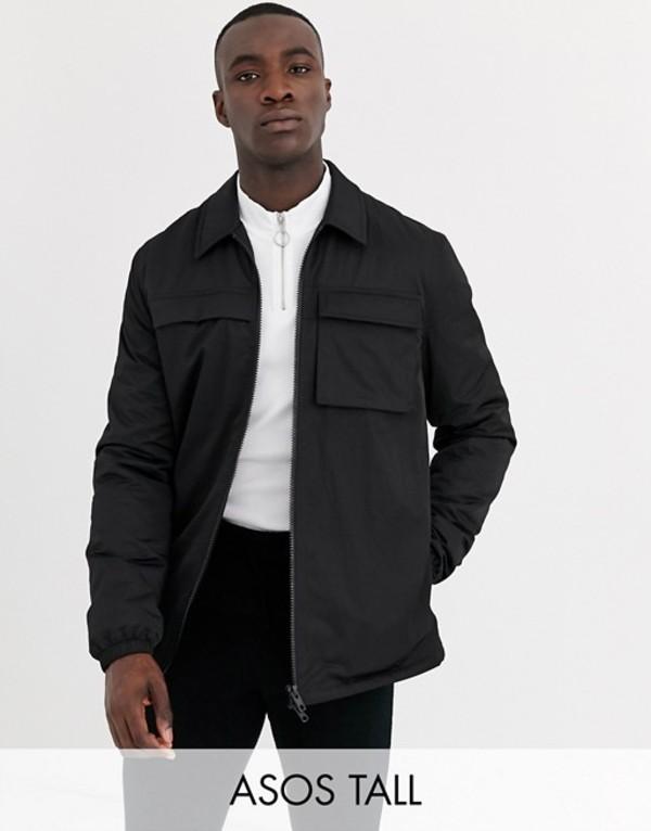 エイソス メンズ ジャケット・ブルゾン アウター ASOS DESIGN Tall quilted jacket with utility details in black Black