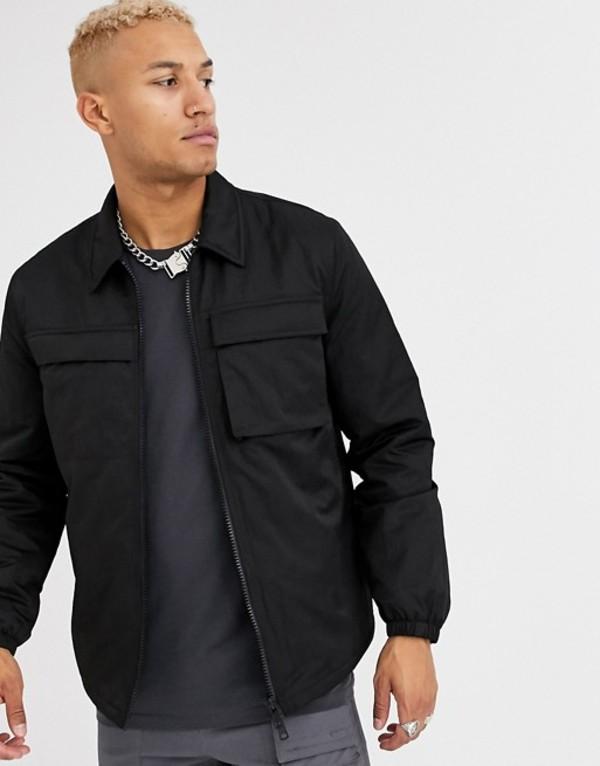 エイソス メンズ ジャケット・ブルゾン アウター ASOS DESIGN quilted jacket with utility details in black Black