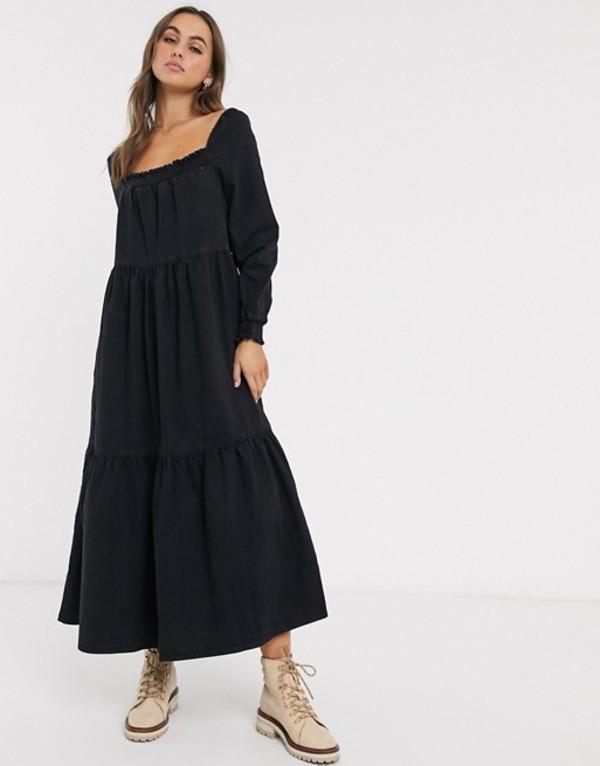 エイソス レディース ワンピース トップス ASOS DESIGN denim prairie midi smock dress in black Black
