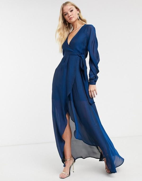 エイソス レディース ワンピース トップス ASOS DESIGN satin chiffon wrap maxi dress with tie detail and drape sleeve Blue