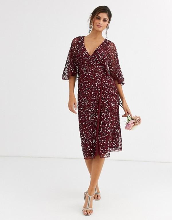 マヤ レディース ワンピース トップス Maya Bridesmaid delicate sequin wrap midi dress wine Wine